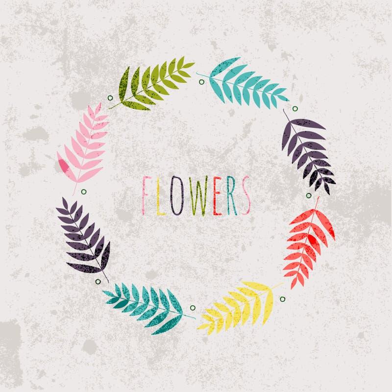 Wiosna kwitnie, liście, dandelion, trawa na rocznika tle ilustracji
