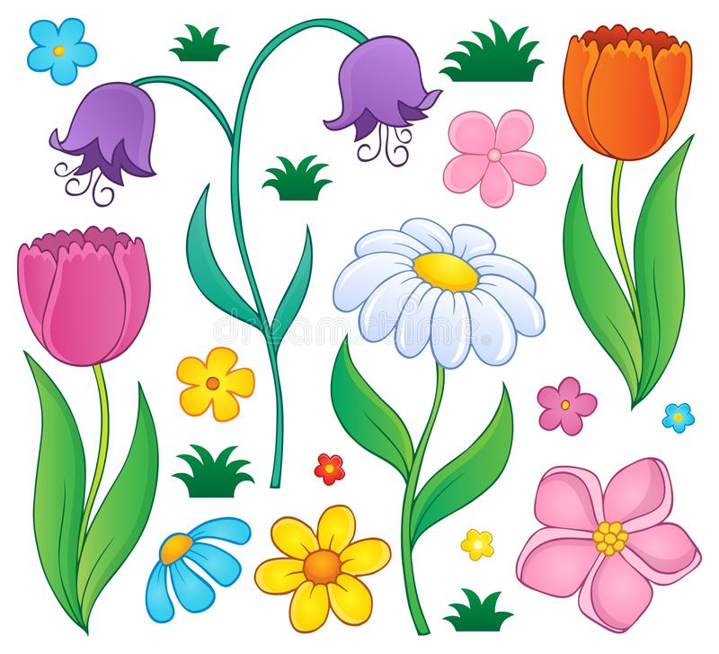 Wiosna kwitnie tematowego set 4 ilustracja wektor