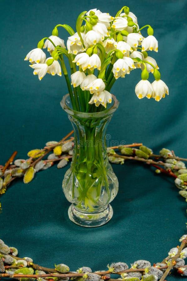 Wiosna kwitnie w krystalicznej wazie, okrąg wierzb gałąź na błękitnym tle zdjęcia stock