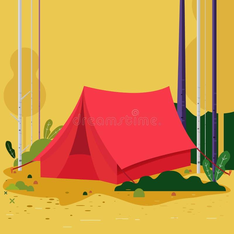 Wiosna namiot Ob?z letni Krajobraz z czerwonym namiotowym lasem i górami na tle Przygody w naturze wektor royalty ilustracja