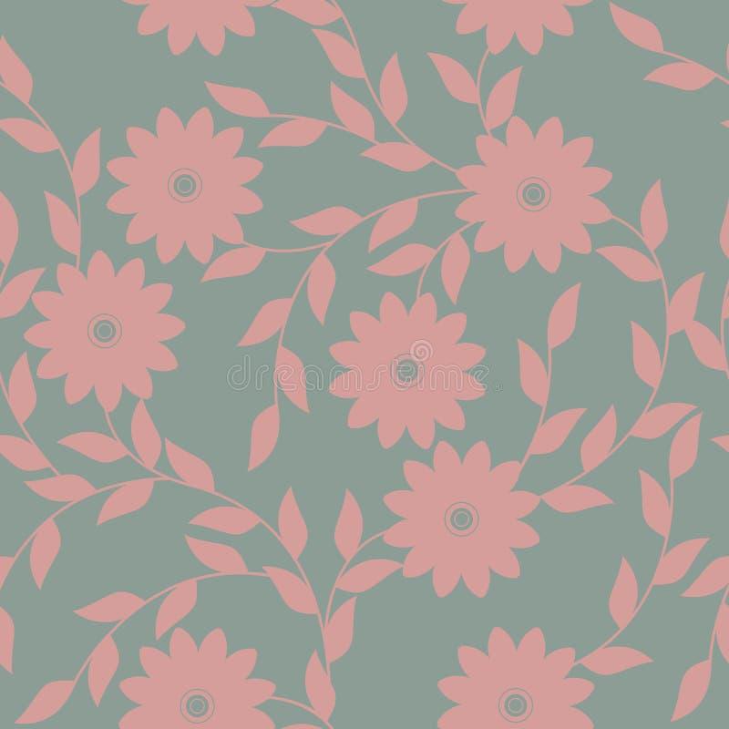 Wiosna niekończący się wzór z chamomile liśćmi i kwiatami ilustracja wektor
