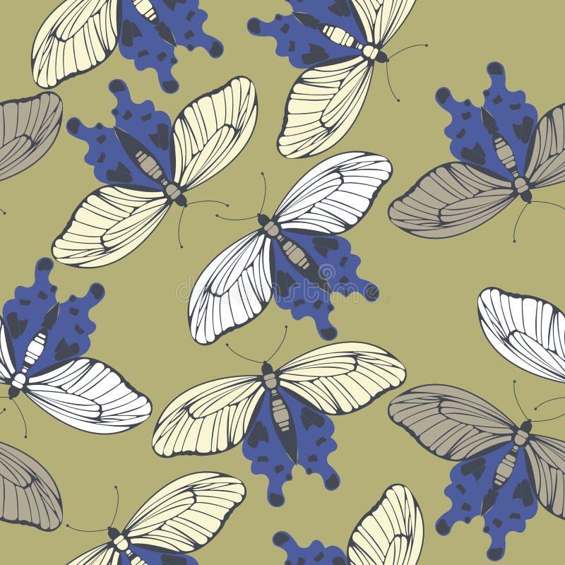 Wiosna niekończący się wzór z dekoracyjnymi motylami ilustracja wektor