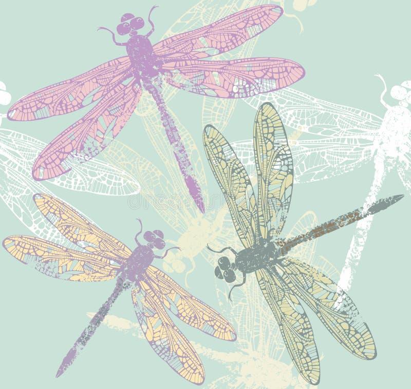 Wiosna niekończący się wzór z eleganckimi dragonflies ilustracji