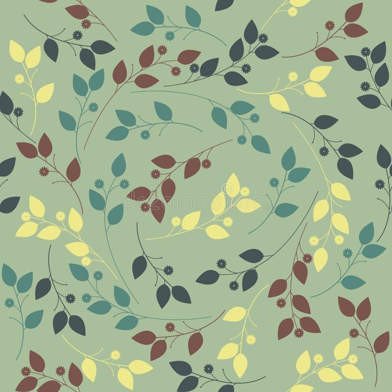 Wiosna niekończący się wzór z kolorowymi kwiatami i liśćmi royalty ilustracja