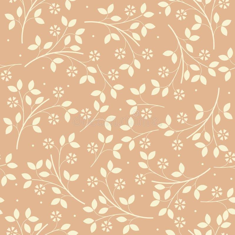 Wiosna niekończący się wzór z kwiatami i liśćmi royalty ilustracja