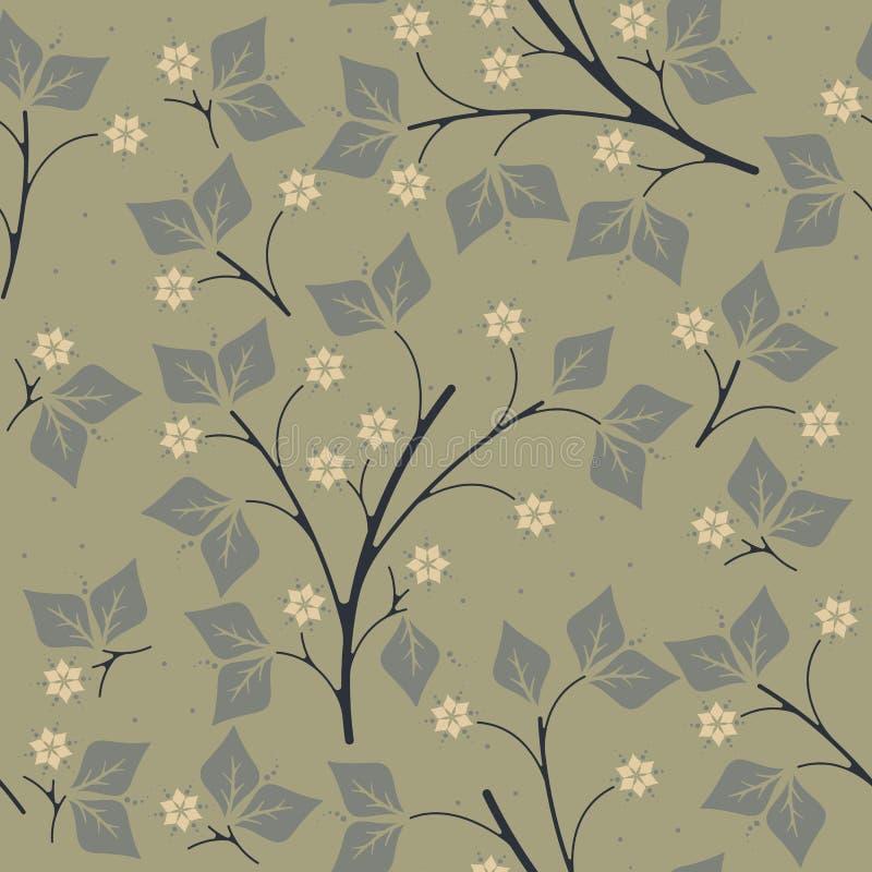 Wiosna niekończący się wzór z liśćmi i kwiatami na zielonym backgrou ilustracja wektor