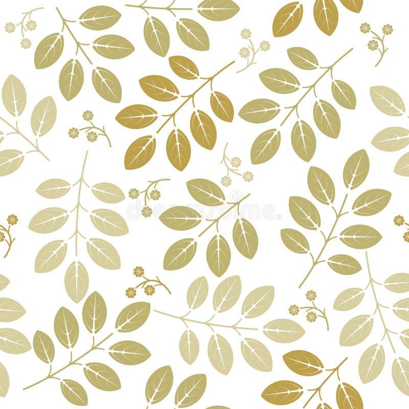 Wiosna niekończący się wzór z zieleń liśćmi i kwiatami ilustracja wektor
