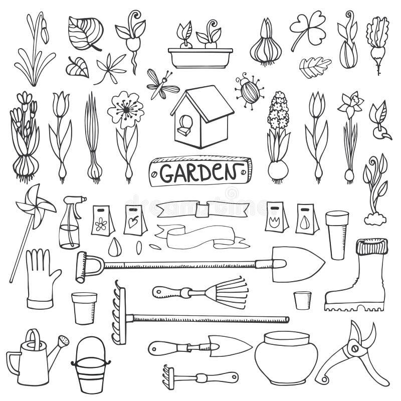 Wiosna ogródu doodles Kwiaty, żarówki, rośliny, narzędzia royalty ilustracja