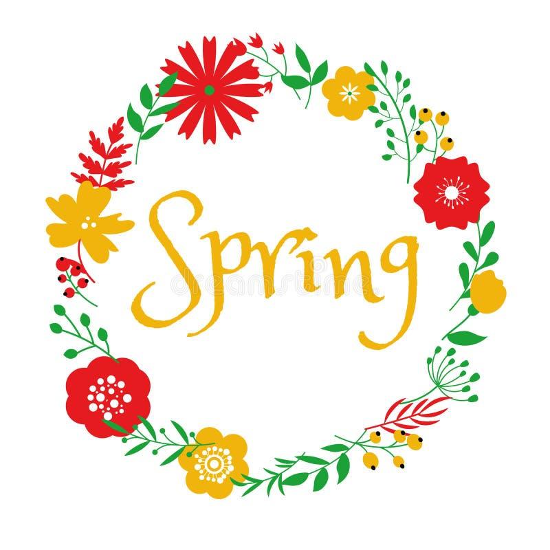 Wiosna okręgu ramy kwiecisty projekt na białym tle obraz royalty free