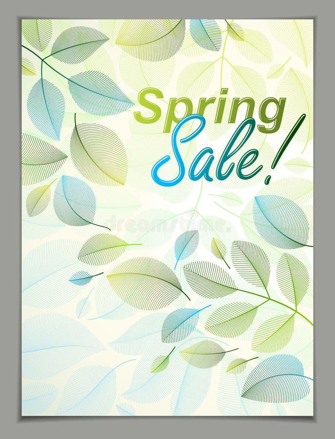 Wiosna opuszcza pionowo tło, natura sezonowy szablon dla projekta sztandaru, bilet, ulotka, karta, plakat z zielonym i świeżym ilustracji