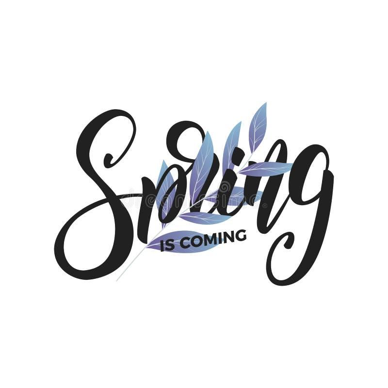 Wiosna Pisma literowania wiosna i świezi liście Karta dla sezonowego promo, sprzedaży, etc ilustracji