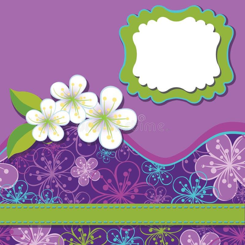 Wiosna projekta szablon. Wiśnia kwitnie tło royalty ilustracja