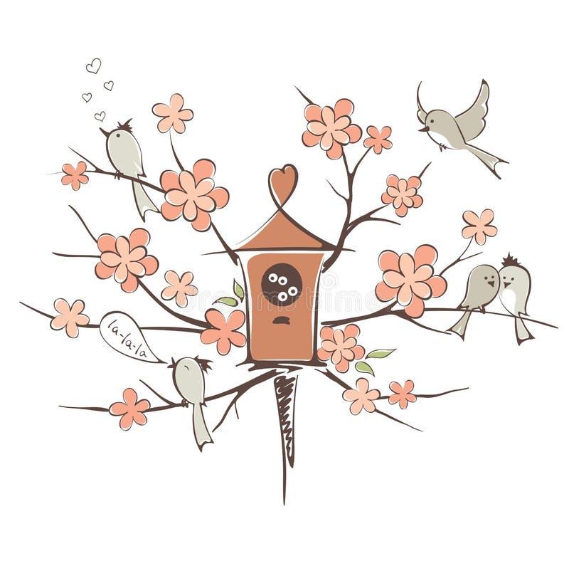 Wiosna ptaki na drzewie royalty ilustracja