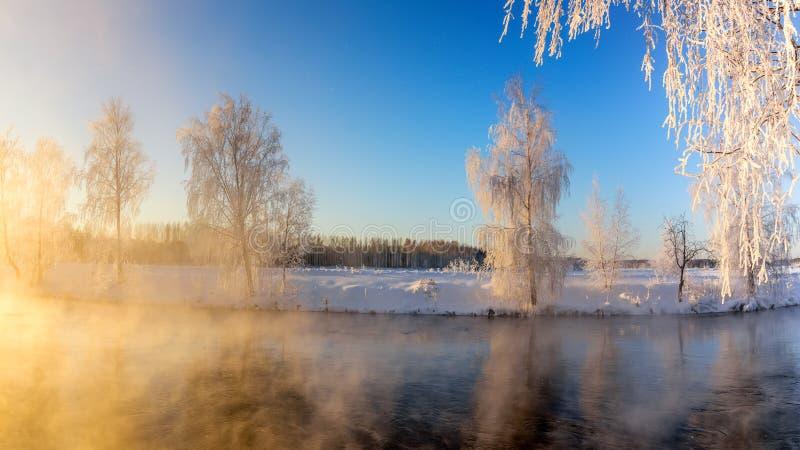 Wiosna ranku krajobraz z mgłą i las na brzeg jezioro, Rosja Urals, Luty obrazy royalty free