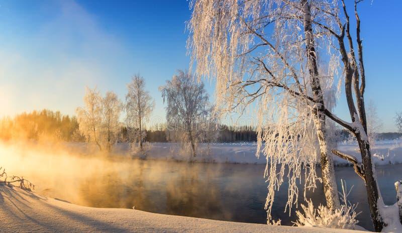Wiosna ranku krajobraz z mgłą i lasem, rzeka, Rosja, Ural obraz stock