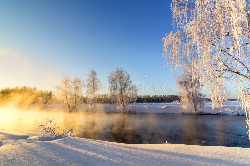 Wiosna ranku krajobraz z mgłą i lasem, rzeka, Rosja, Ural zdjęcia stock