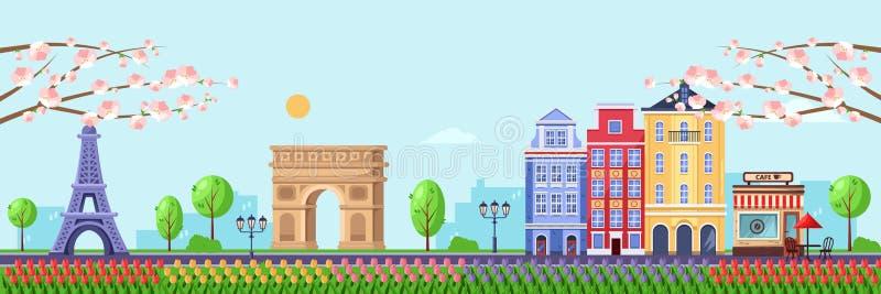 Wiosna sezon w Paryż Wektorowa płaska ilustracja pejzaż miejski z wieżą eiflą, Triumfalnym łukiem i starymi budynkami, ilustracja wektor