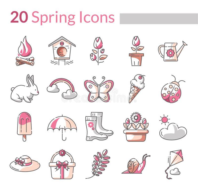 Wiosna sezonu ikony w wektorowym formacie zdjęcia royalty free