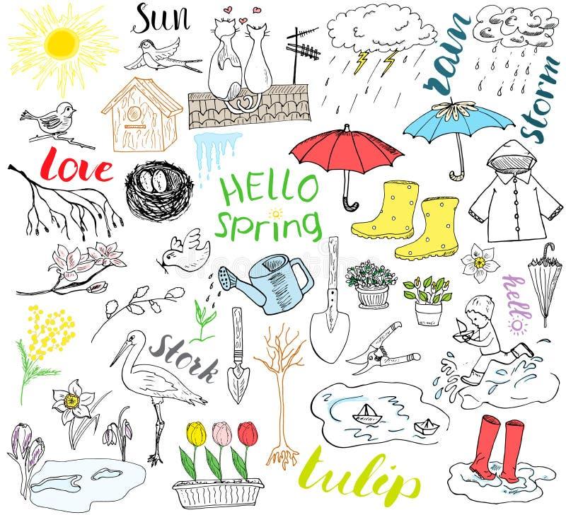 Wiosna sezonu set doodles elementy Ręka rysujący nakreślenie ustawia z parasolem, deszcz, gumowi buty, deszczowiec, flovers, ogro ilustracji