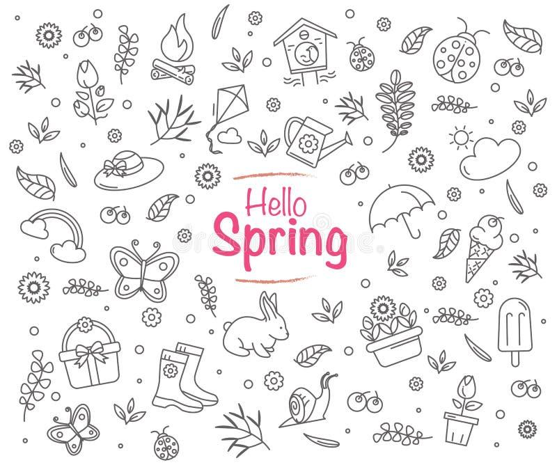 Wiosna sezonu tło w wektorowym formacie z editable uderzeniami zdjęcia stock