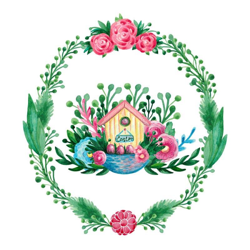 Wiosna składu domu Wielkanocny kosz rozgałęzia się kwiatów jajka na białego odosobnionego tła elementów Świątecznej symbolicznej  ilustracji