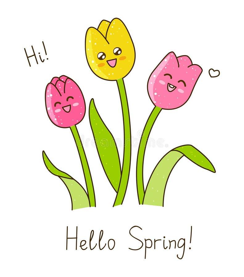 Wiosna szczęśliwi tulipany royalty ilustracja