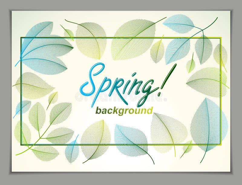 Wiosna sztandaru horyzontalny projekt, wektor zieleń f i świezi liście, ilustracja wektor