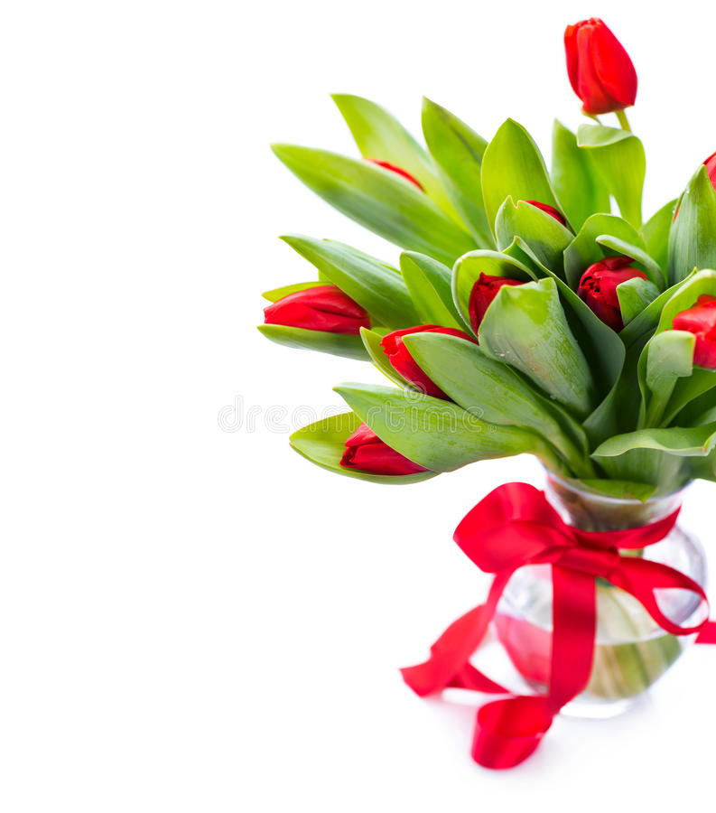 Wiosna tulipan kwitnie bukiet w wazie obraz stock