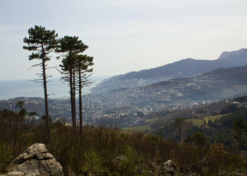 Wiosna w góra widoku Yalta zdjęcia stock