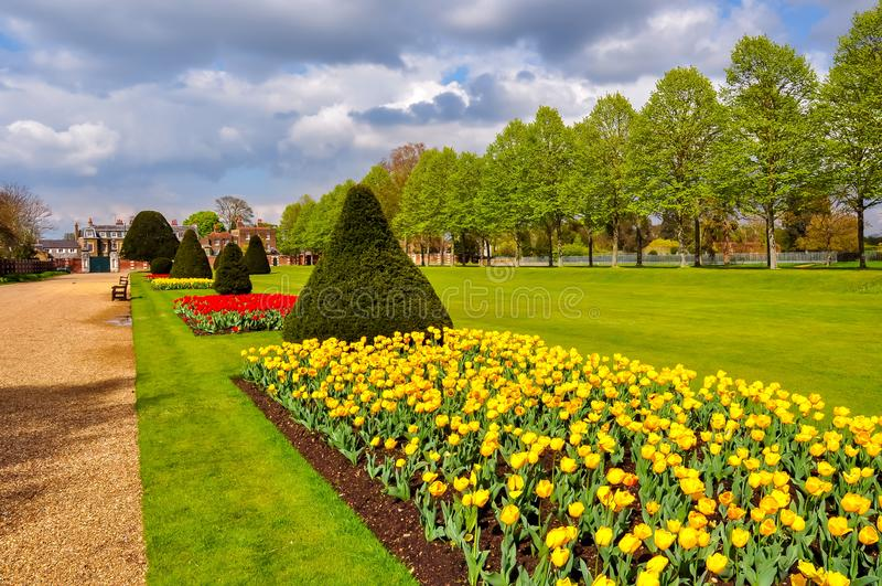Wiosna w hampton court uprawia ogródek, Londyn, Zjednoczone Królestwo obraz royalty free