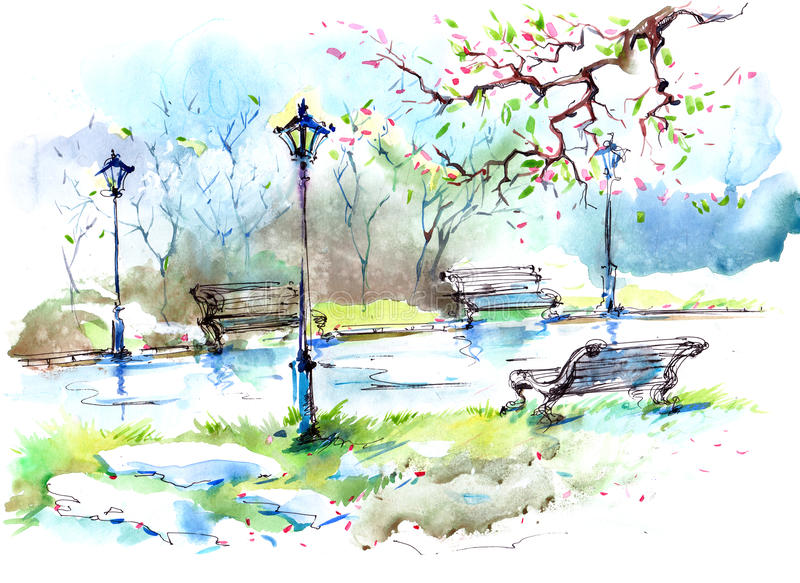 Wiosna w mieście ilustracja wektor