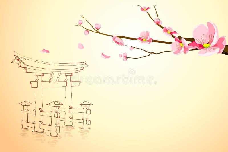 Wiosna w Miyajima royalty ilustracja