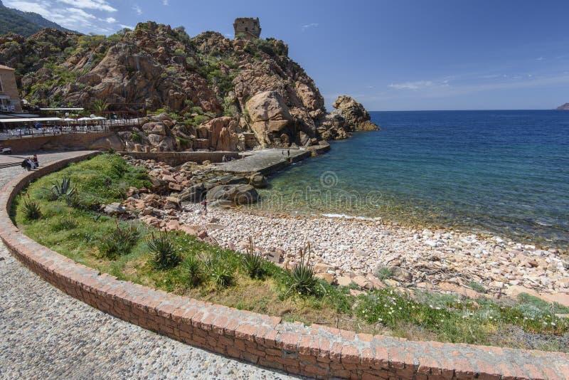 Wiosna widok Korsykańska wioska Porto obrazy stock