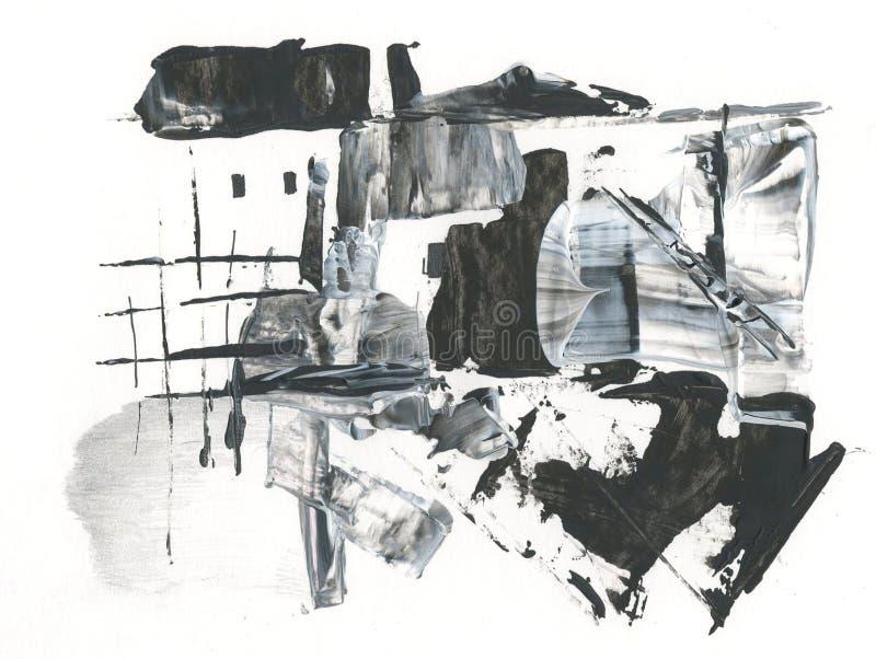 Wiosna, wiejski krajobraz, śnieg topi, rysujący z akrylowym i piórem, abstrakcja royalty ilustracja