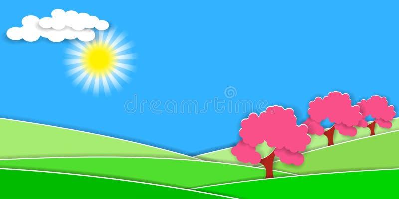 Wiosna wiejski krajobraz z zielonymi wzgórzami i owocowymi drzewami 3D papieru cięcia styl dla wieś projekta royalty ilustracja