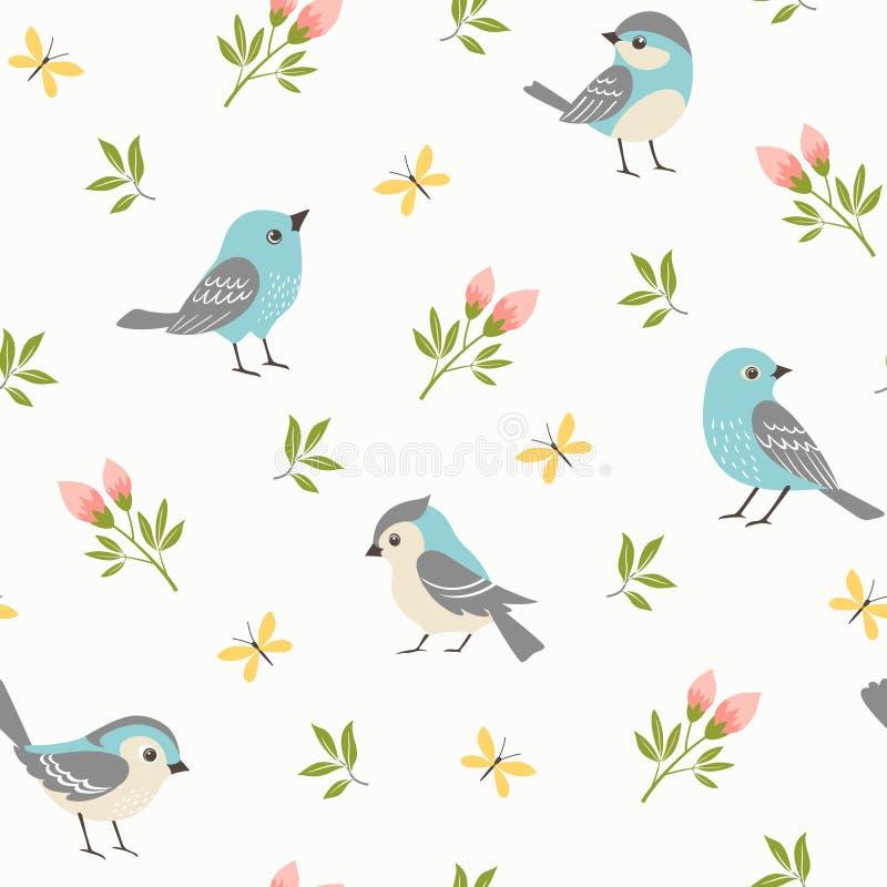 Wiosna wzór błękitni mali ptaki royalty ilustracja