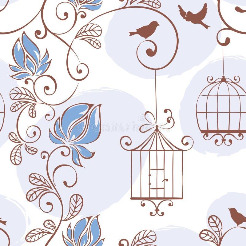 Wiosna wzór z kwiatami i ptakami royalty ilustracja