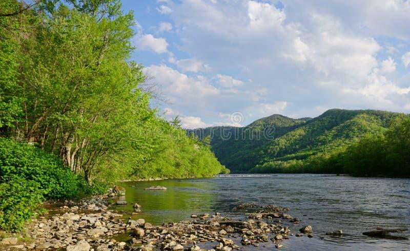 Wiosna wzdłuż Francuskiej Szerokiej rzeki w Gorących wiosnach Pólnocna Karolina obrazy royalty free