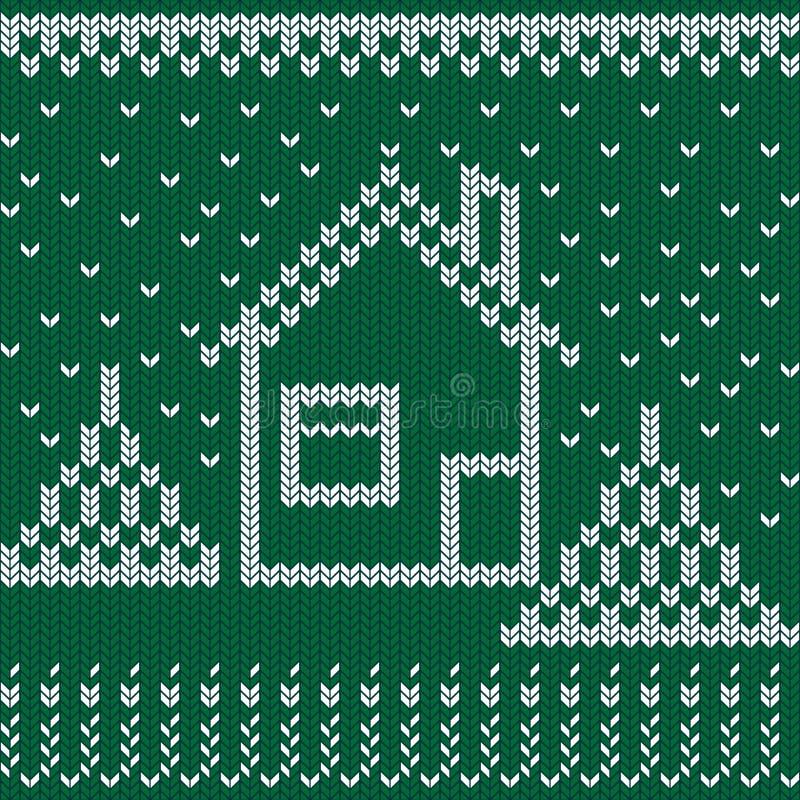 Dzianina zimowa Drzewa bożonarodzeniowe, dom, śnieg i dziewiarstwo Bezszwowa wełniana dziana tekstura obrazy royalty free