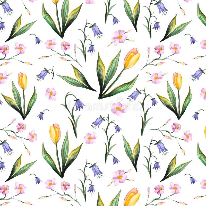 Wiosny akwareli bezszwowa tekstura royalty ilustracja