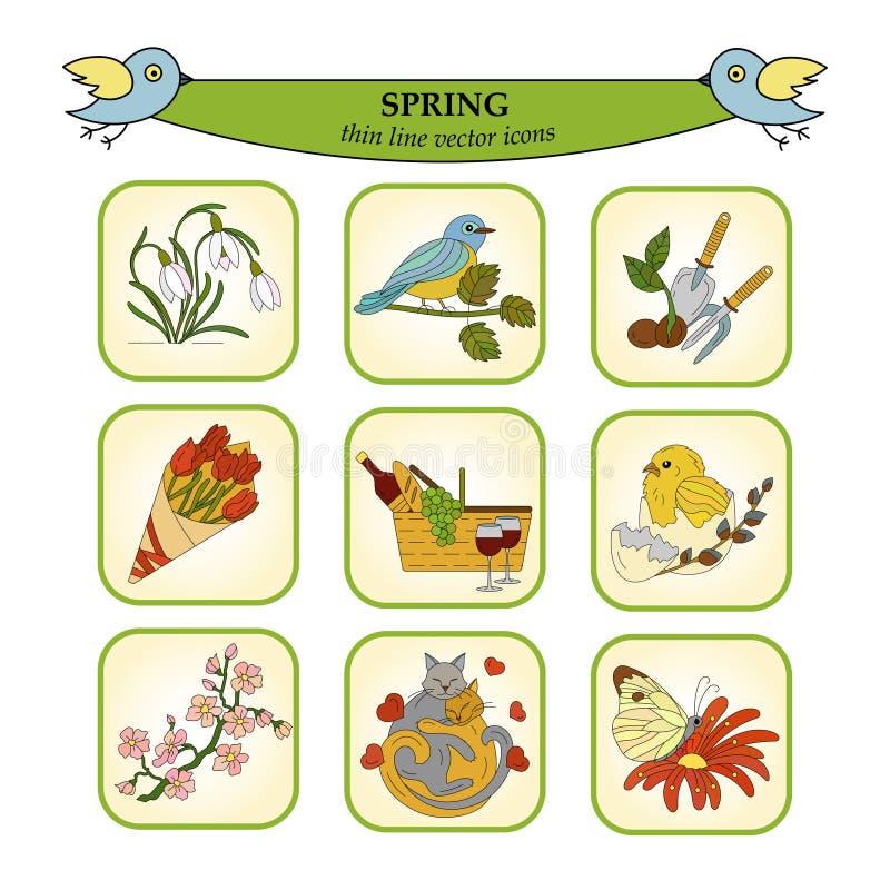 Wiosny cienkiej linii barwione wektorowe ikony ilustracja wektor