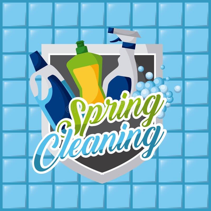 Wiosny cleaning butelek produktów dezynfekci płytki plastikowy tło ilustracja wektor