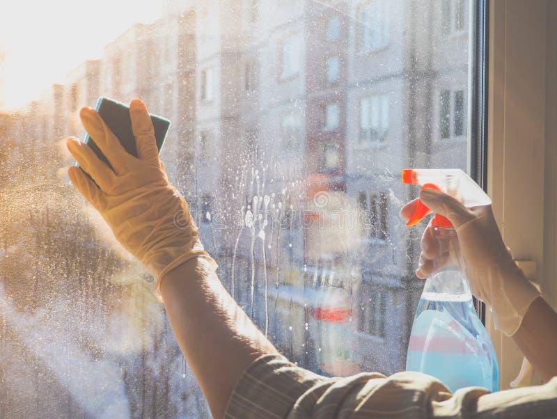 Wiosny cleaning - cleaning okno Kobiety ` s ręki myją okno, czyści zdjęcie royalty free