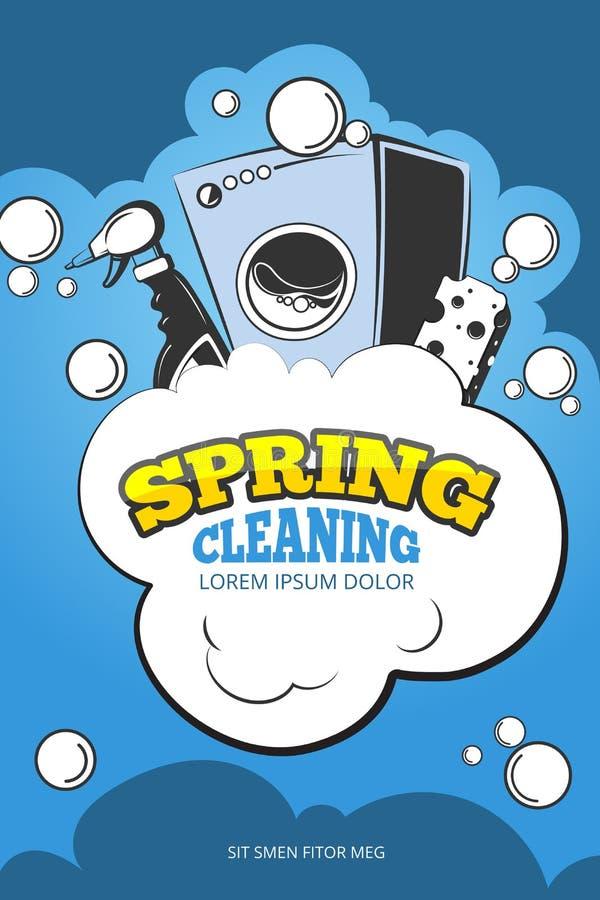 Wiosny cleaning usługa pojęcia wektorowy tło, plakat royalty ilustracja