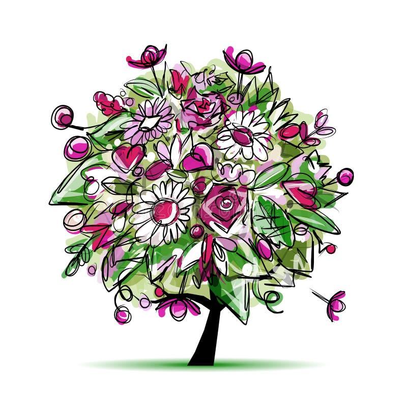 Wiosny drzewny kwiecisty dla twój projekta ilustracja wektor