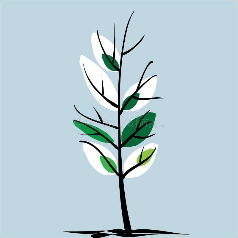 Wiosny drzewo i liście, kiełkujemy gdy śnieg topi royalty ilustracja