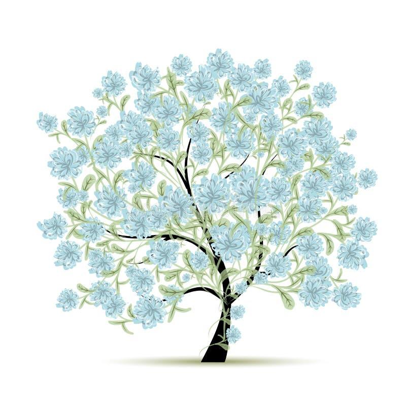 Wiosny drzewo z kwiatami dla twój projekta royalty ilustracja