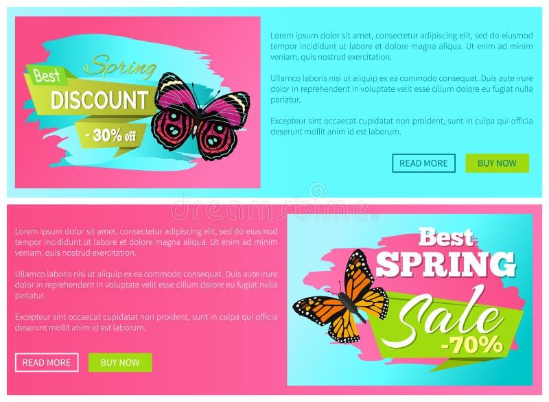 Wiosny Dyskontowa sprzedaż 30 70 Z emblematów Ustawiających dalej Online ilustracji