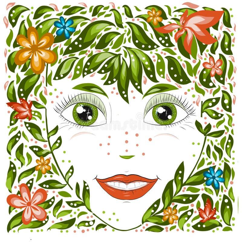 Wiosny dziewczyny Piękny portret symbolizuje kwiecenie, radość Kreskówka styl ilustracji