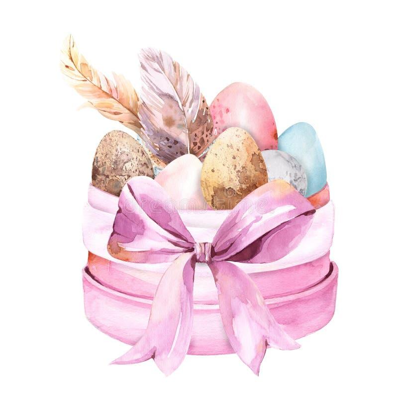 Wiosny Easter skład z akwareli jajkami, piórka, eukaliptus w różowym pobrudzonym round pudełku ilustracji